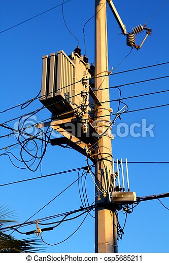 light pole distribution transformer messy wires - csp5685211