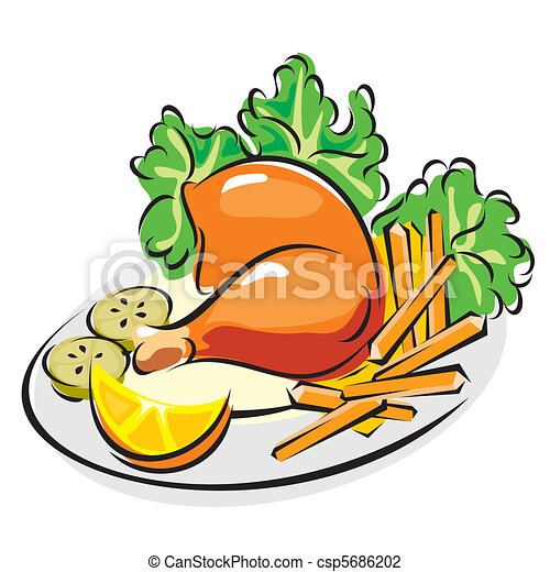 Ilustraciones de Vectores de pollo, asado, pierna - vector ...