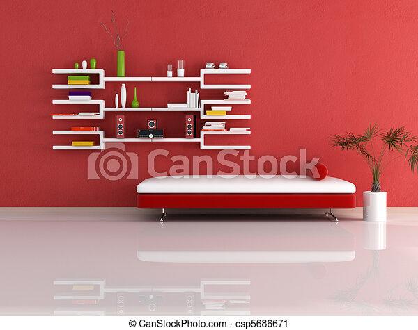 Clipart van witte moderne rood boekenkast bankstel levend kamer csp5686671 zoek - Moderne witte kamer ...