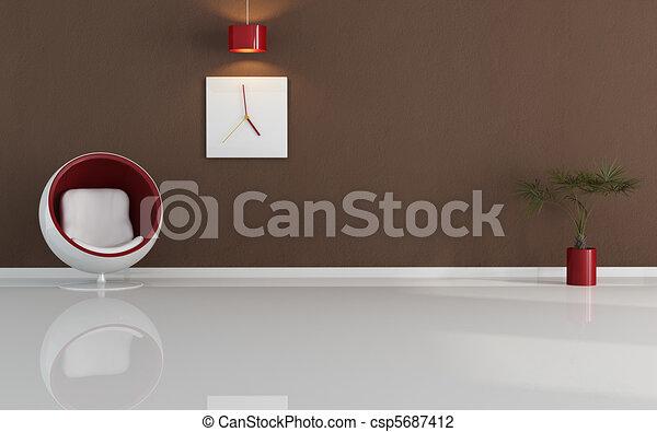 contemporary minimal living room - csp5687412
