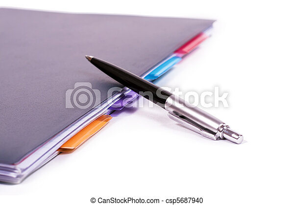 Ballpoint neatly organized notebook. - csp5687940