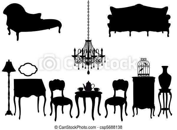 antique furniture, vector - csp5688138