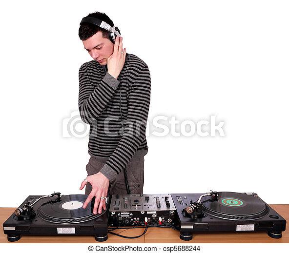 dj with headphones play music