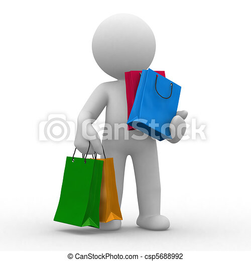 Clip Art of Shopping bags - 3d human carry many shopping bags ...