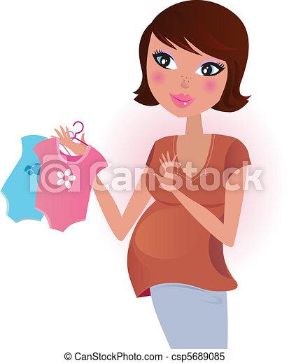 Baby boy or girl? Pregnant woman. - csp5689085