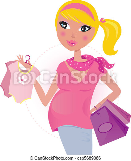 Pregnant mom on shopping for child  - csp5689086
