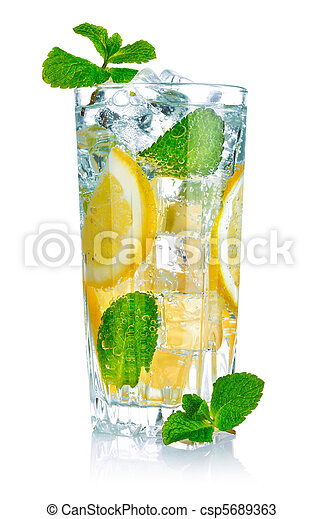glass of fresh cool water with lemon - csp5689363