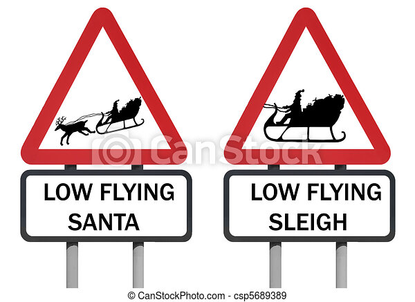 Santa and sleigh roadsign - csp5689389