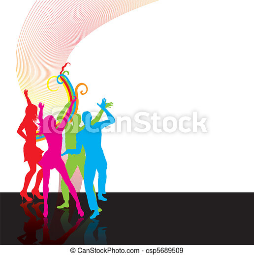 Dancing happy people silhoettes - csp5689509
