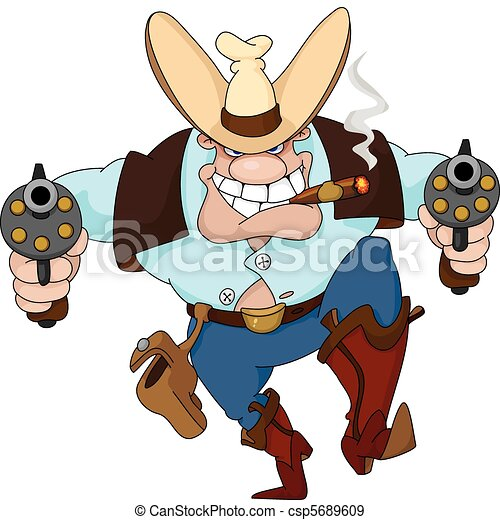 cowboy with revolvers - csp5689609