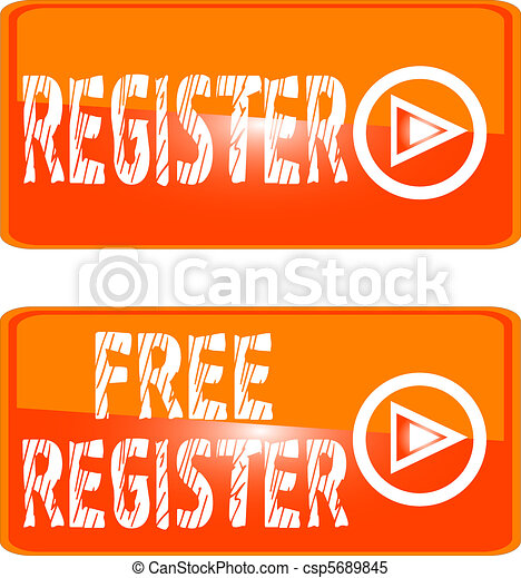 register web button orange sign - csp5689845