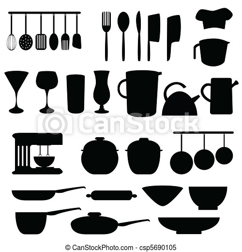 Kitchen Tools Drawings vector illustration of kitchen utensils and tools - kitchen and