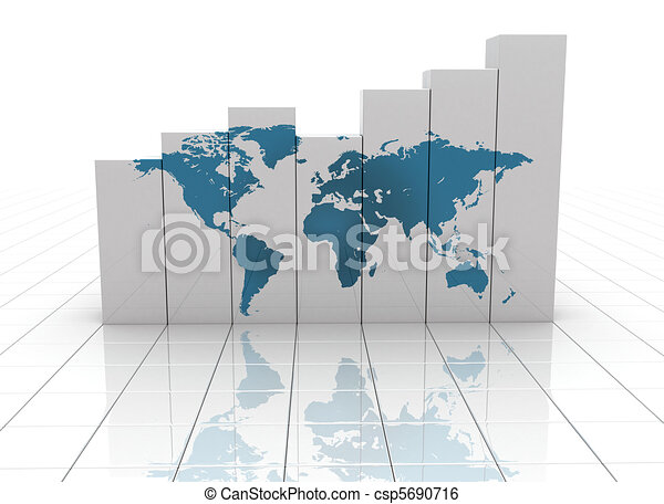 Busines graph world map  - csp5690716