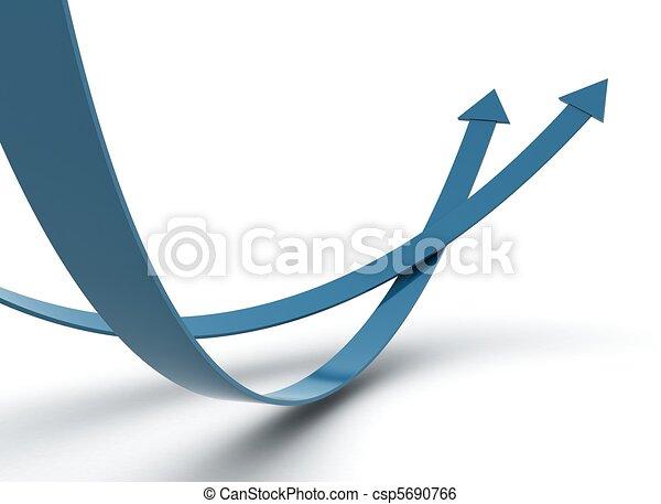 Two blue arrow - competition concept  - csp5690766