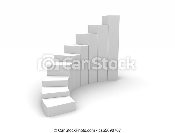 3d illustration of business success charts over white background  - csp5690767
