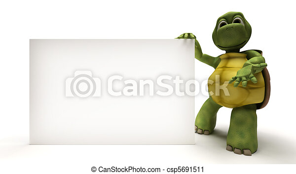 Tortoise with a blank white sign - csp5691511