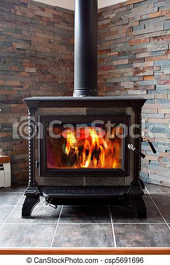 Burning Cast Iron Wood Stove Heating - csp5691696