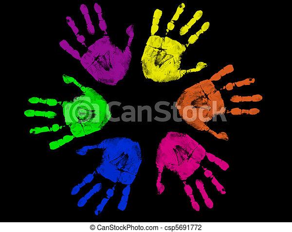 colorful hand prints - csp5691772