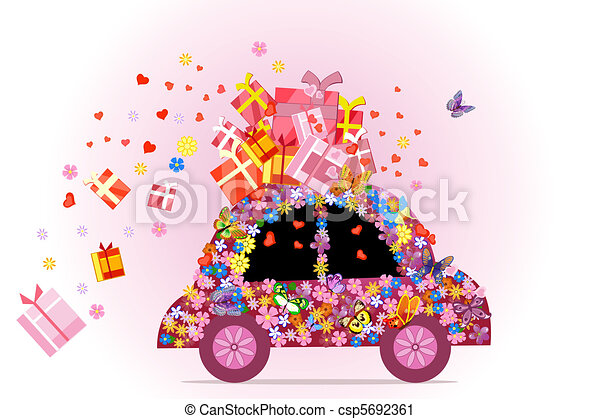 car full of gifts - csp5692361