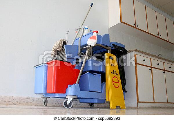 Blue public places cleaning equipme - csp5692393