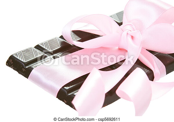 Gift Bitter Chocolate with Pink Bow - csp5692611