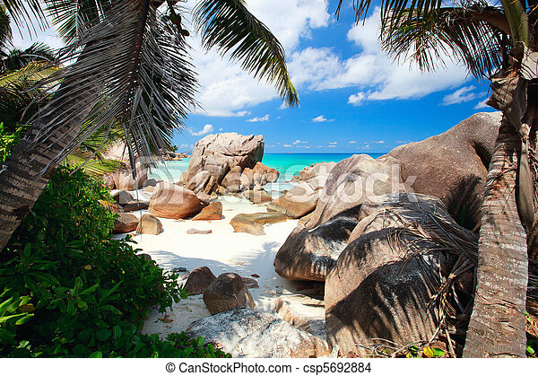 Secluded beach in Seychelles - csp5692884