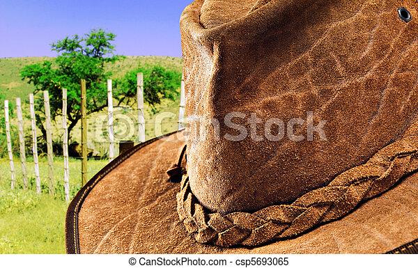 cuero, sombrero, en, naturaleza - csp5693065