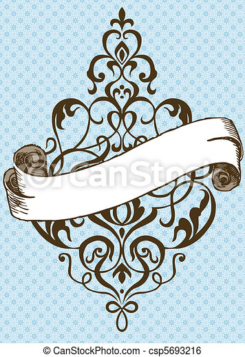 Vector Thin Swirl Ornament and Banner - csp5693216