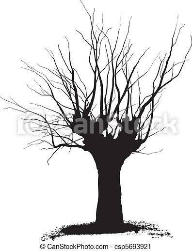 Clip art vecteur de arbre acacia taille silhouette for Dessin graphique noir et blanc