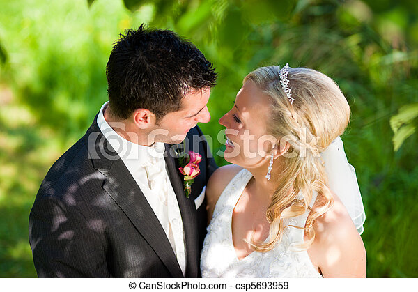 Wedding couple in romantic setting - csp5693959
