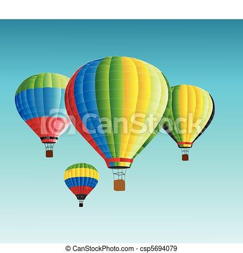 vector illustration of hot air baloon  - csp5694079