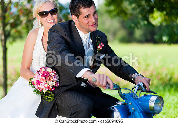 mariage, couple, moto - csp5694095