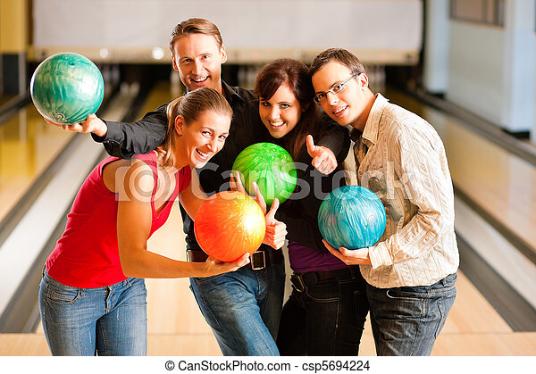 Friends bowling together - csp5694224