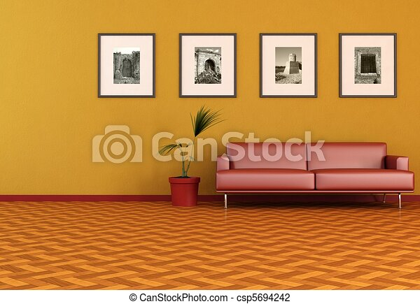 contemporary orange living room - csp5694242