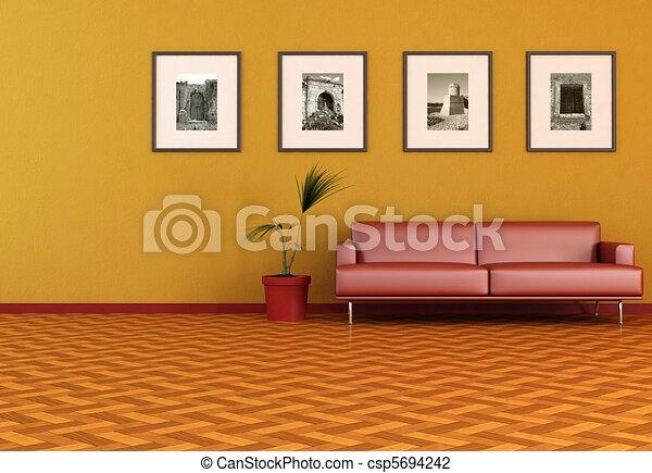 contemporary orange living room - csp5694242