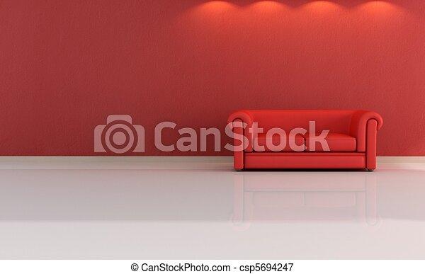 minimalist red lounge - csp5694247