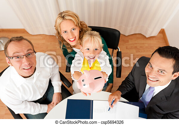 Family with consultant - finance and insurance - csp5694326