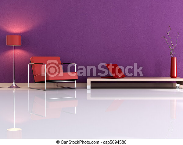 Violet living room - csp5694580