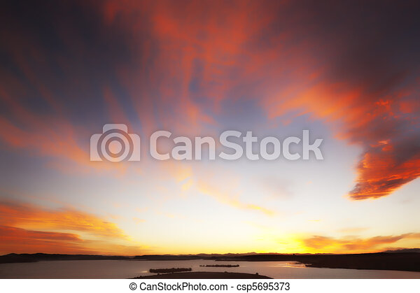 Atmospheric sky with red clouds - csp5695373