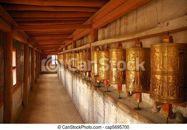 Prayer Wheels. Tibet - csp5695700