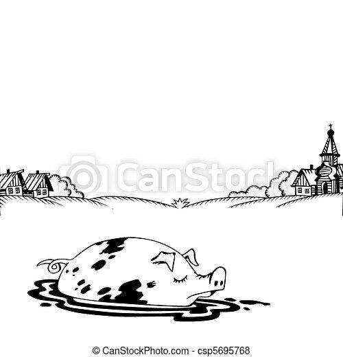 vector rural landscape on white background - csp5695768