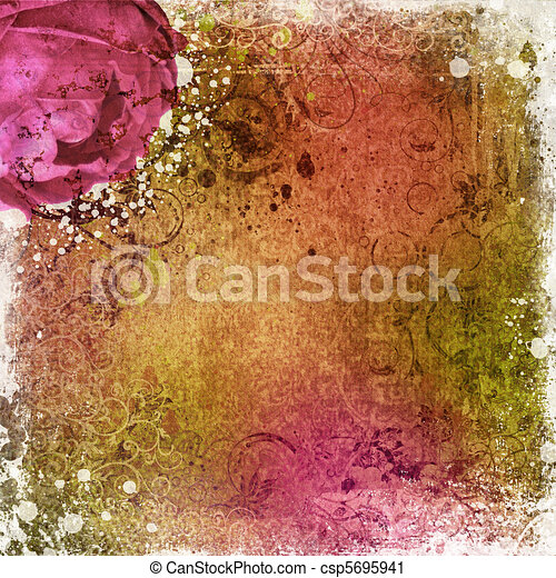 vintage wallpaper background with rose  - csp5695941