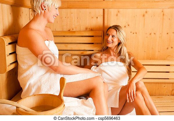 Stock Photos of Two women in sauna - Two women enjoying a