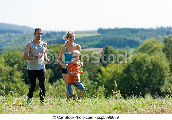 Family doing sports - jogging - csp5696689