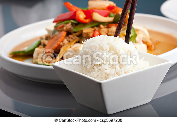 Thai Food and Jasmine Rice - csp5697208
