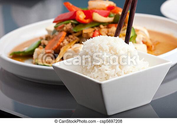 Thai Food and Jasmine Rice - csp5697208