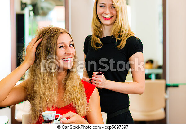Woman at the hairdresser getting advise - csp5697597