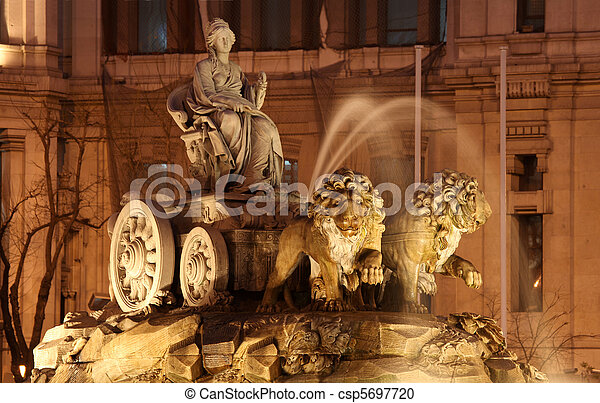 Plaza de Cibeles Madrid Spain. This neoclassical fountain was built between 1777 and 1782 and has become an iconic landmark in the Spanish capital. - csp5697720