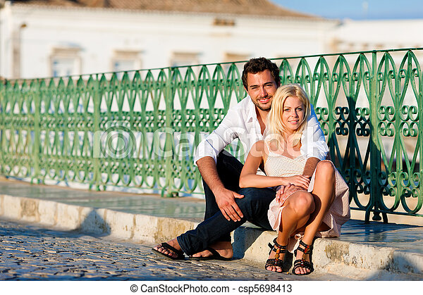 City tourism - couple in vacation on bridge - csp5698413