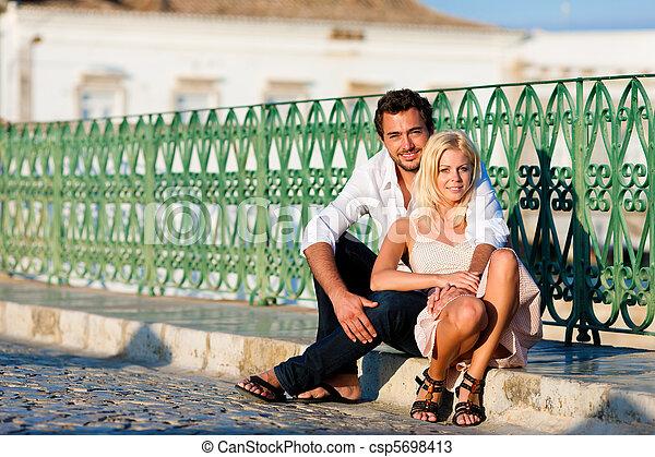 City tourism - couple in vacation on bridge - csp5698413